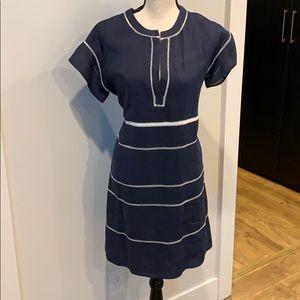 Vince Navy Dress, linen & lined